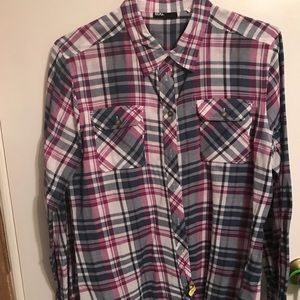 Navy blue and purple plaid shirt